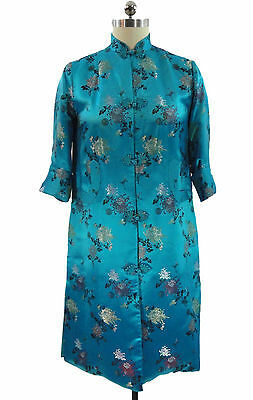 Vtg Peony Brand Shanghai Robe Coat Dressing Gown Satin Quilted Embroidery 38