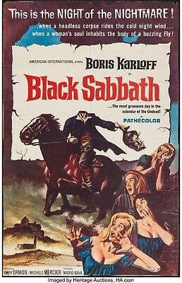 "Black Sabbath BORIS KARLOFF 1964 ORIGINAL Movie Poster One Sheet 25""X39"" Trimmed"
