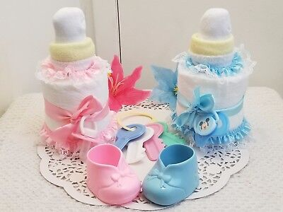 Large Baby Bottle Pacifier Diaper Cake Baby Shower Centerpiece Boy