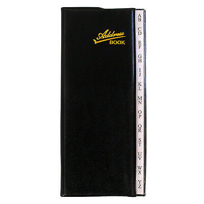 ADDRESS TELEPHONE EMAIL BOOK  Black Cover Tabbed Pages - Great Size: 7.75 x 3.5""