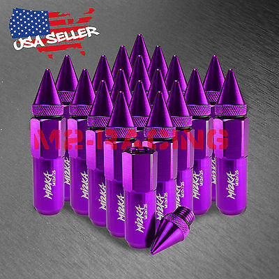 Purple 20 PCS M12X1.25 Lug Nuts Spiked Extended Tuner Aluminum Wheels Rims Cap