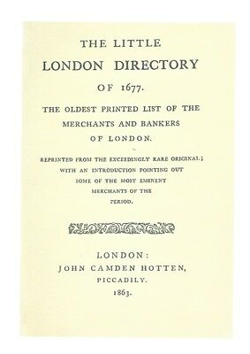 The Little London Directory of 1677 (1863) on pdf DVD