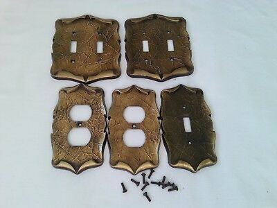 Vintage Amerock Carriage Outlet & Light Switch Cover Plates Brass Tone 5 Pieces