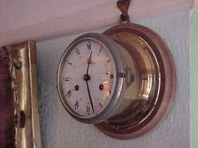 Vintage German Schatz Royal Mariner 8 Bell Brass & Walnut Striking Ships Clock