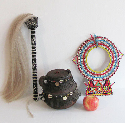 African Samburu Tribe Lot - Zulu Fly Whisk Pottery Milk Jug & Bead Necklace