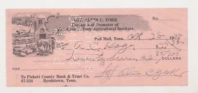 Sgt Alvin C York Signed Autographed Cancelled 1929 Check WWI Medal of Honor Army