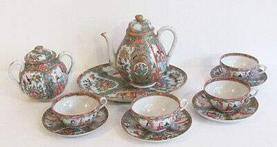 Antique 19th Century Chinese Rose Medallion Porcelain 11 Piece Tea Set