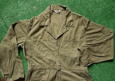 Vintage 70s Madewell Coveralls olive green work wear jumpsuit Made In USA sz M