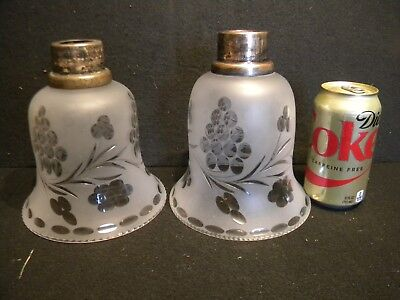 PAIR of LARGE ANTIQUE ACID-ETCHED & HAND-CHASED CANDLE or WALL SCONCE SHADES