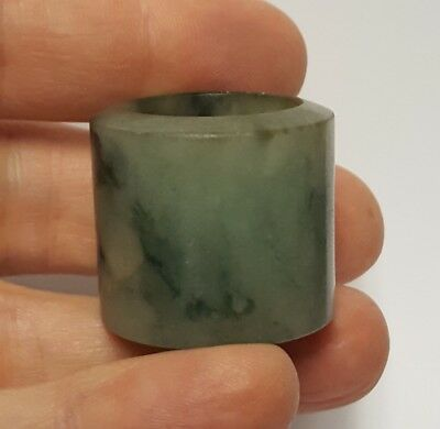 antique Chinese Qing carved jade archers ring