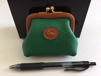 DOONEY & BOURKE Vintage Green Leather Kiss Lock Coin Purse, NEW IN BOX