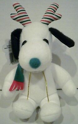Whitman's Whitmans Peanuts Snoopy Plush Green Nose Antlers Scarf