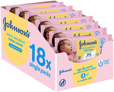 PACK of 18 Johnson's Baby Extra Sensitive Fragrance Free Wipes Total 1008 Wipes