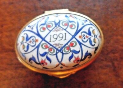 Staffordshire Enamels Box- hand painted -dated 1991