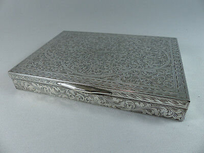 Vintage Mid Century Finely Chased 800 Italian Silver Box Jewelry Trinket Cigar