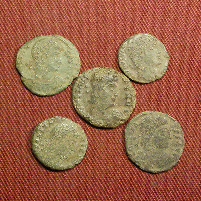Lot of 5 Uncleaned / Semi-cleaned Late Roman AE4 Coin #7