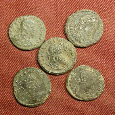 Lot of 5 Uncleaned / Semi-cleaned Late Roman AE3 Coin #4