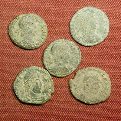 Lot of 5 Uncleaned / Semi-cleaned Late Roman AE3 Coin #9