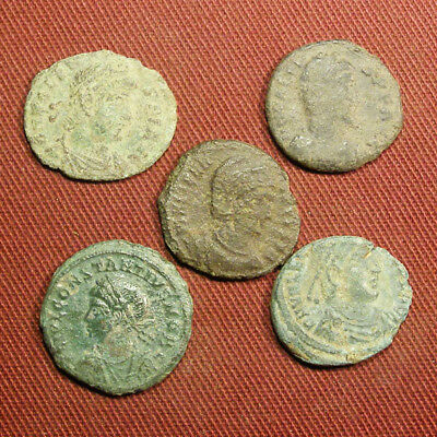 Lot of 5 Uncleaned / Semi-cleaned Late Roman AE3 Coin #11