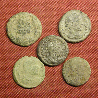 Lot of 5 Uncleaned / Semi-cleaned Late Roman AE3 Coin #6