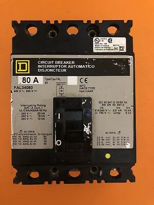SQUARE D FAL34080 THERMAL MAGNETIC CIRCUIT BREAKER 3P 80A AMP 480V D573818 used