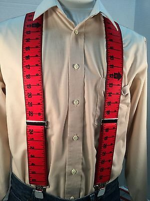 "New, Men's, Red Measuring Tape, XL, 2"", Adj. Suspenders / Braces, Made in USA"