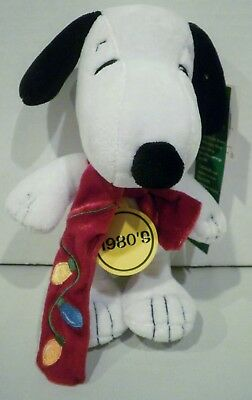 Celebrate Peanuts 60 Years 1980's Snoopy Plush Red Christmas Lights Scarf