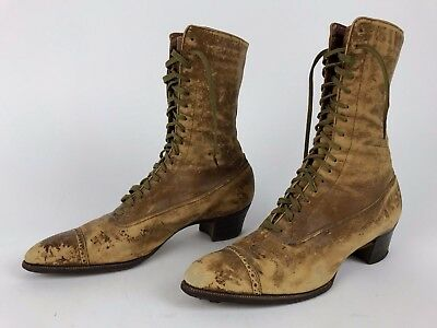 Antique J&T Cousins Co NY Brown LACE Up EDWARDIAN Boots 37 Granny ~1910 Cap Toe