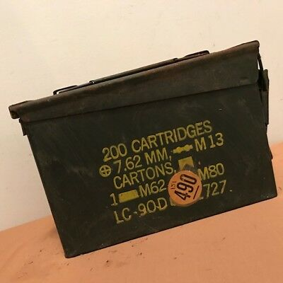 Vintage US Army 30 Cal Ammo Can Box Metal Storage 7.62 MM . M19A1