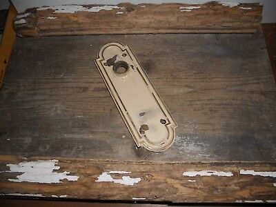 Vtg Heavy Corbin Cast Brass Chippy Off White Shabby Arched Door Knob Back Plate