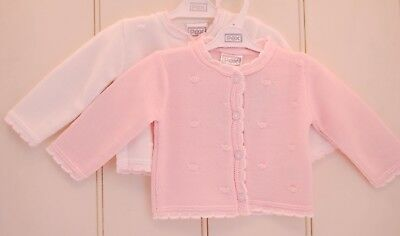 Spanish Style Boutique Pink And White Baby Cardigan Newborn 0-12 Months