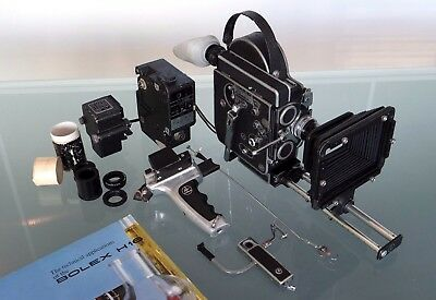 Bolex H16 16mm camera with 10mm Switar lens and accessories