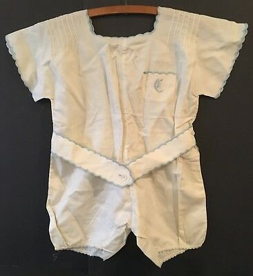 VINTAGE Girls Or Ladies One Piece Embroidered Shorts Outfit With Blue Trim Belt