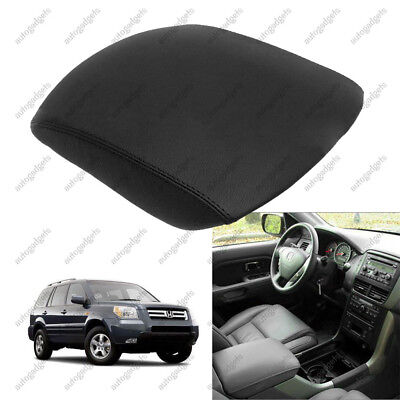 Fits 01-05 Honda Civic Black Real Leather Center Console Lid Armrest Cover