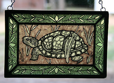 Stained Glass,Hand Painted,Kiln Fired, Eastern Box Turtle, #1202-01