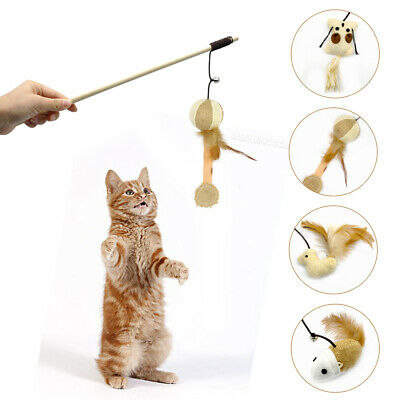 Interactive Wooden Cat Toys Mouse Rod Teaser Bell Feather Kitten Wand Play Toys