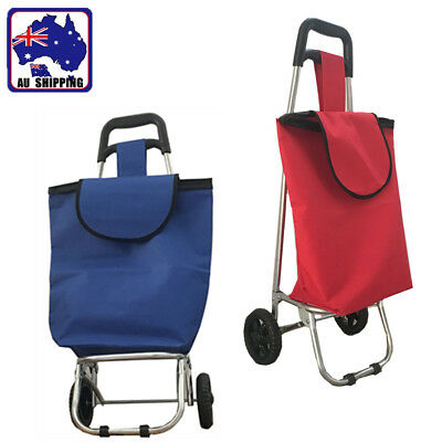 Shopping Cart Carts Trolley Foldable Bag Wheels Folding Basket Blue Red CTOC980