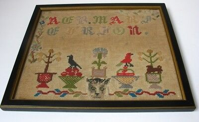 Small Early 8 x 10 Antique Embroidered Cross Stitch Sampler, CAT FACE Dog Bird