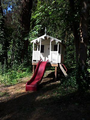 Cubby House Wood, Aaron's Playhouse Outdoor Elevated Slide Verandah, SASSAFRAS