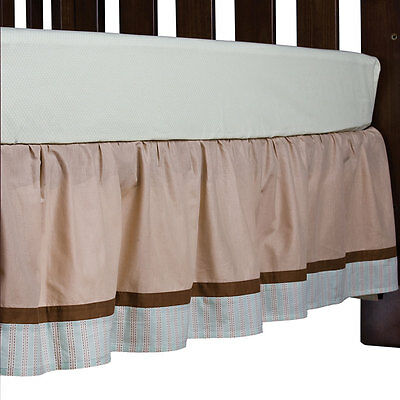 Living Textiles Baboo Collection Cot Bed Skirt - Brown Fits Boori
