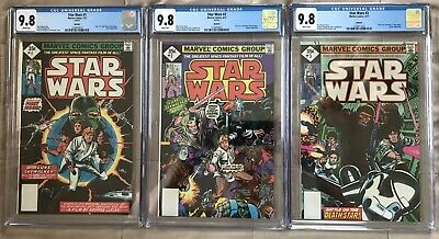 Star Wars #1 #2 & #3 ALL CGC 9.8 NM/MT WHITE Pages New Slab RARE 1977 Reprint