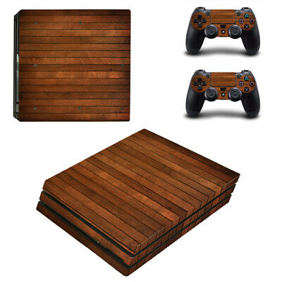 Playstation 4 PS4 Pro Console Skin Sticker New Wood+ 2 Controllers