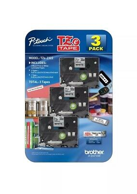"""3PK Black on White Label Tape TZ231 TZe221 12mm (1/2"""") 8m for Brother P-Touch"""
