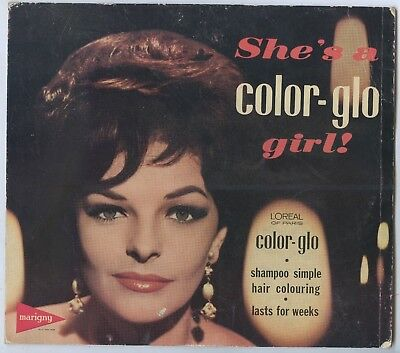 1950'S Advertising Shop Show Card Loreal Of Paris Color-Glo Girl Shampoo X88.