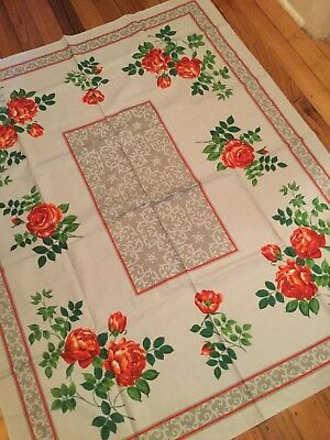 VINTAGE 1950's LINEN TABLECLOTH WITH ROSES. As New! Never Used!