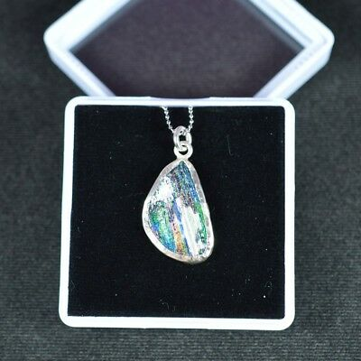 Ancient Roman Glass Pendant 925 Sterling Silver 002