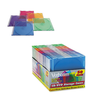 NEW Verbatim Assorted Colors Plastic Jewel CD Cases 50 Ct. Slim DVD Storage Case