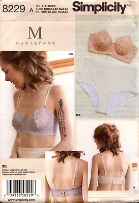 Simplicity Sewing Pattern 8229 Misses' Bras and Panties by M Madalynne 32A-42DD