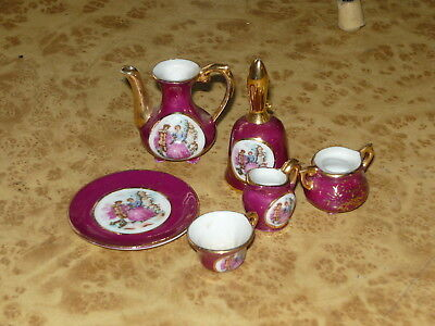 5x Vintage Miniature Crinoline Lady Dinner Set Plate Cup Jug Bell ~ Dolls House