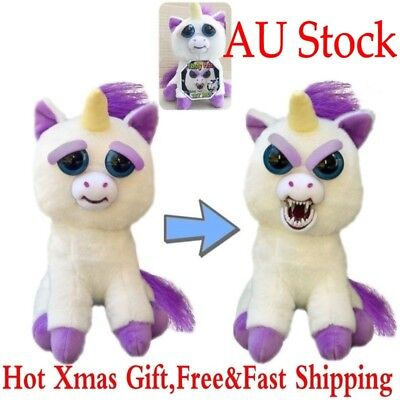 AU Feisty Pet Unicorn Soft Plush Stuffed Scary Face Glenda Glitterpoop Xmas Toys